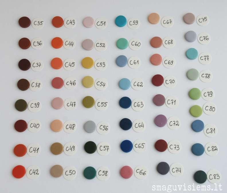 užsakomų rankų darbo sagų spalvų pavyzdžiai