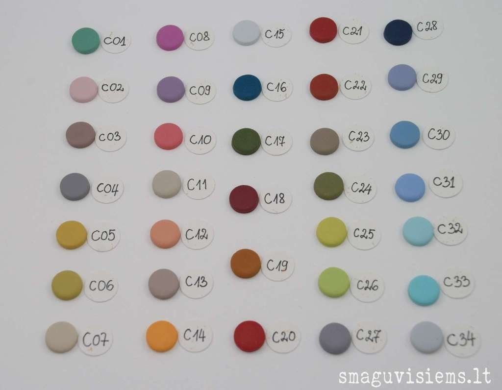 užsakomų sagų spalvų pavyzdžiai